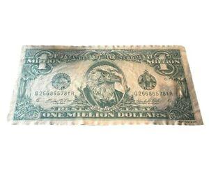 Vtg 1990 One Millon Dollar Bill Bald Eagle Fleece Throw Blanket 70 X 36