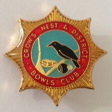 Crows Nest Bowling Club Badge Pin Bird Design Vintage Lawn Bowls (L14)