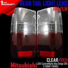 FOR MITSUBISHI MIGHTY MAX 1987-96 DODGE D-50 TAIL LIGHT LENSES CLEAR-RED 1 PAIR