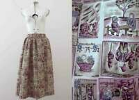 Vintage 80s 50s Style Gathered French Postcard Skirt  Buy 3+ items for Free Post