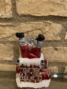 Pottery Barn Mercury Christmas ornament Santa in Chimney Tree Holiday New