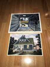 2 VINTAGE 90s GEORGE BOUTWELL SIGNED NUMBERED PHOTO PRINTS FARM CATS