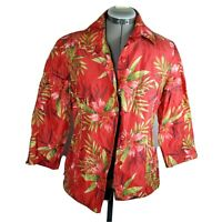 Silkland Women's Red Floral Jacket Size 6 Long Sleeve Lined