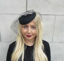 Black Dark Silver Grey Bead Birdcage Veil Statement Fascinator Pillbox Hat 2309