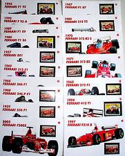 Ferrari francobolli e schede tecniche delle monoposto dal 1957 al 1997 RARITA'