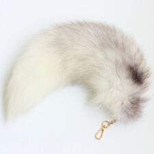 17 inch Real Arctic Fox Tail Fur White Gray Handbag Accessory Key Chain Ring