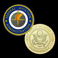 US. Federal Aviation Administration  24K Gold Plated Printed Challeng Coin