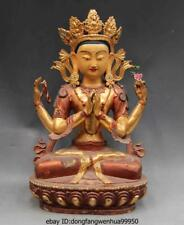 Chinese Bronze Copper Gild painted Four Arm Hands Kwan-Yin Bodhisattva Buddha