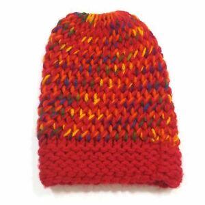 Ponytail Girls High Bun 100% Wool Knitted Cap Skull Beanie Warm Winter Hat Red