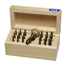 BEZEL SETTING TOOLS PUNCH SET WITH 18 PUNCHES IN WOOD BOX SIZES 0.75mm TO 7.75mm
