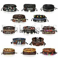 4 шт. кожаный лоты браслеты для мужчин женский деревянные бусы браслет плетеный браслет