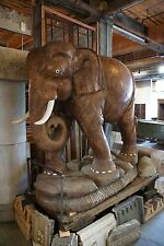 Antique Intricately Carved Teak Elephant from Thailand 2 Available 6' Tall