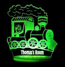 TRAIN  PERSONALISED NAME LED NIGHT LIGHT LAMP 13 COLOURS CHILDREN'S & BABY ROOM