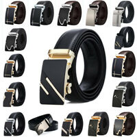 Fashion Mens Luxury Metal Automatic Buckle Leather Belt Waist Strap Waistband