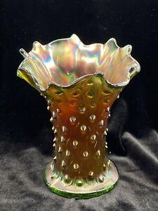 "Carnival Glass Northwood Iridescent Green Tree Trunk Vase 7"""