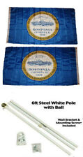 3x5 City of Boston Massachusetts 2ply Flag White Pole Kit Gold Ball Top 3 #039;x5 #039;