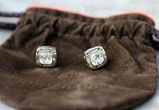 Auth John Hardy Kali Batu Square White Topaz Sterling Silver 925 Stud Earrings