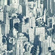 Wallpaper Designer Big Apple New York City Skyline Blue on Eggshell White