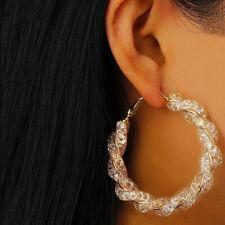 Gold Plated Big Twisted Round Circle Loop Hoop Earrings Trinket for Women C