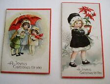 Antique Vintage Adorable Embossed Christmas Cards (2) w/ Children *