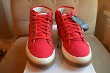 ALEXANDER MCQUEEN PUMA RED CANVAS LEATHER FORMULA ONE RABBLE MID TOP SNEAKE