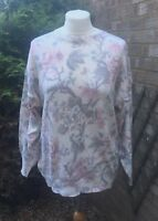Vintage Cream Cotton Mix Floral Oversized Long Sleeved Jumper Sweater Knit 10/12