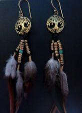 Boucle d'Oreille Plume Arbre De Vie  - Bijoux Tribal Jewellry