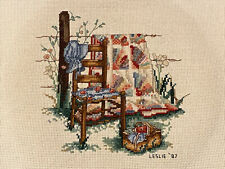 Vintage Completed Cross Stitch Paula Vaughan Quilt Chair Fence Basket Bonnet