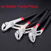 """Plumbers Jaw Waterpump Pipe Wrench Pliers Set 6""""/8""""/10""""/12"""" Grips Water Pump New"""