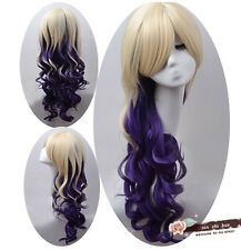 New Lolita Harajuku Long Curly Wavy Full Wigs Hair Anime Cosplay Wig mixed color