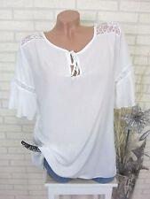 Verano túnica blusa camisa häkel punta Ibiza blanco talla 42 44 46 (sy67)