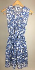 Vintage Blue White Lace Eyelet Style Floral Dress Mid Century Summer Button Sz 4