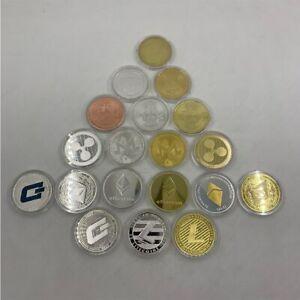 19 types Gold/silver color Bitcoin coin Metal Physical Commemorative Coin gift
