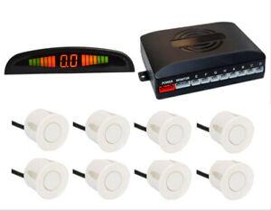 8x Sensors Car Front & Rear LED Display Reverse Buzzer AlarmParking Kit White