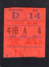 1971 Jethro Tull concert ticket stub Madison Square Garden Aqualung Ian Anderson