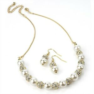 Diamante & Pearl Gold Necklace with Matching Earrings Jewellery Set
