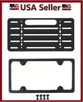 UNIVERSAL FRONT/REAR MOUNTING BRACKET KIT & BLACK LICENSE PLATE/TAG FRAME HOLDER