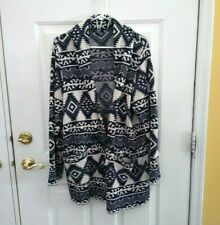 Chaps Navy Cream Aztec Open Front Sweater Toggle Size XXL