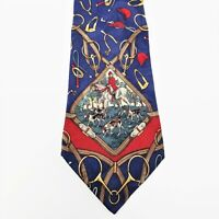 Hathaway Mens Novelty Tie Blue Multicolor Silk Hunting Scene Horse Dogs USA VTG
