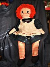 """Giant 42"""" Early Vintage Traditional Hand Made Raggedy Ann Doll Fully Clothed Guc"""