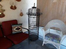 """Vintage Mid Century Gigantic 60"""" X 18"""" Round Wire & Wrought Iron Bird Cage"""