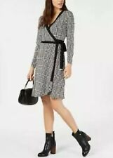 New $99 Tommy Hilfiger Women's Size 14 Wrap Front Dress Black White Long Sleeve
