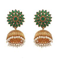Jhumka Jhumki Gold Tone Pearl Polki Earrings Pair Indian Women Wedding Jewelry