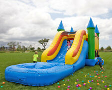Commercial Grade 13' x 35' Pastel Wet Dry Combo Bounce House Waterslide Games
