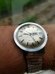 Vintage Timex Automatic Day Date Watch, Champagne Dial. Serviced GWO 1978
