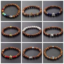 Man Owl Buddha Crown Lion Wooden Beaded Energy Yoga Reiki Woman Bracelets 8MM