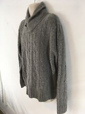 J Crew Mens XL Gray Cable Weave Cowl V-Neck 100% Lambswool Sweater