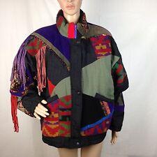 Vtg Patchwork Leather Coat Jacket Fringe Puffer Purple Women's Medium Med