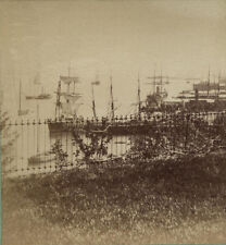 STEREOVIEW OVER A FENCE VIEW OF TALL SHIPS IN THE HARBOR. NYC.