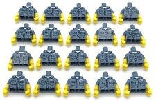 Lego 20 New Sand Blue Minifig Torsos Shirt Dirt Stains Pockets Buttons Name Tag
